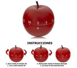 Minutero Cocina Manzana Roja 60 Minutos