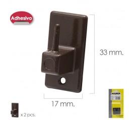 Gancho Visillo / Cortina Adhesivo Marron (Blister 2 Piezas)