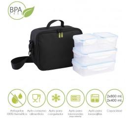 Bolsa Isotermica Con 4 Recipientes Hermeticos Plastico (2x.800 ml + 2x400 ml.)