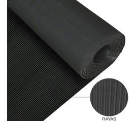 Suelo Goma Rayas 1,30x10 metros3 mm. de Grosor Color Negro