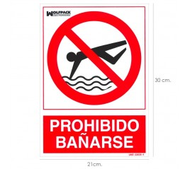 Cartel Prohibido Bañarse 30x21 cm.