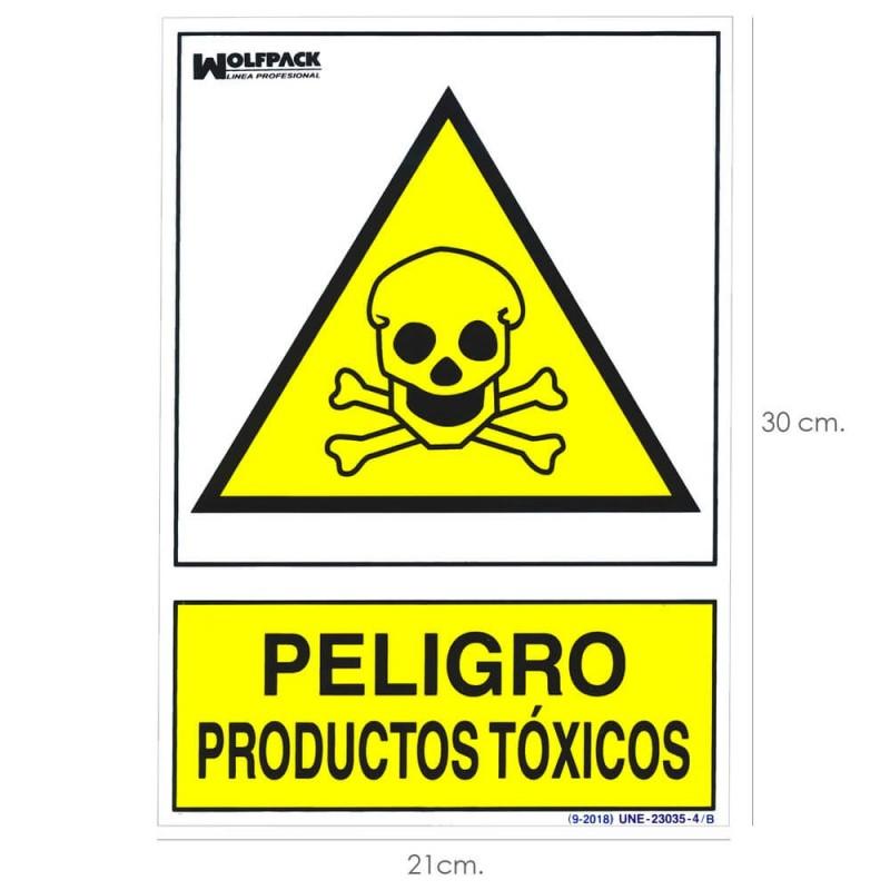 Cartel Peligro Productos Toxicos 30x21cm.