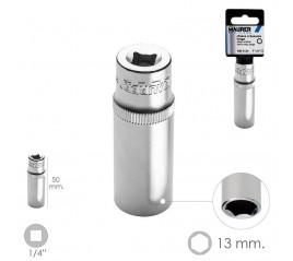 """Llave Vaso Larga 1/4"""" / 13 mm. Hexagonal. / Longitud 50 mm. Realizada en Acero Cromo Vanadio"""