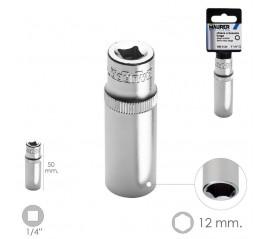 """Llave Vaso Larga 1/4"""" / 12 mm. Hexagonal. / Longitud 50 mm. Realizada en Acero Cromo Vanadio"""
