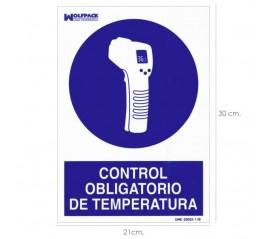 Cartel De Control Obligatorio De La Temperatura 30x21 cm.