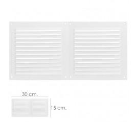 Rejilla Ventilación Atornillable Doble 30x15 cm. Color Blanca