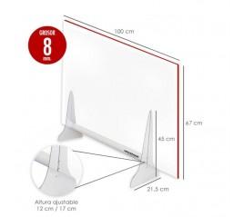 Mampara Protectora  Sobremesa  Metacrilato Transparente 8mm. 67x100cm