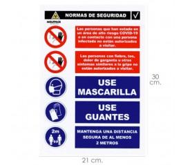 Cartel Combinado Aviso Normas Seguridad 30x21cm.