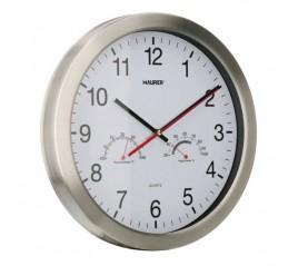 Reloj Pared Ø 30 cm. Con Higrómetro y Termómetro. Frontal En Acero