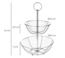 Frutero 2 Niveles, Acero Cromado, Doble Canasta De Rejilla, 45x29x8cm