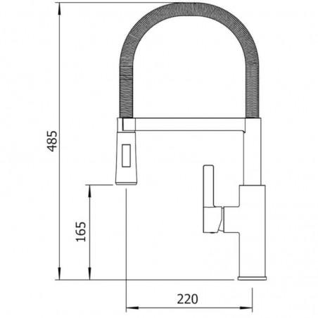 Grifo de cocina monomando Alpina Chrome Metal. Clever Ref.61180