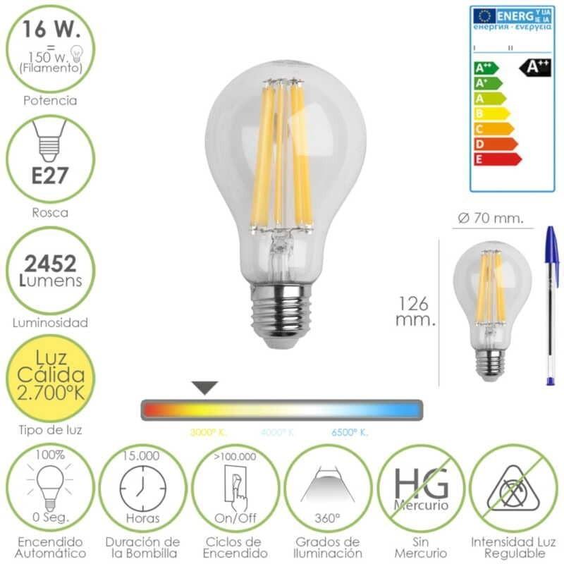Bombilla Led Filamento Rosca E27 (Gorda) 16 Watt. Equivale a 150 Watt. 2452 Lúmenes. Luz cálida (2.700º K) A++
