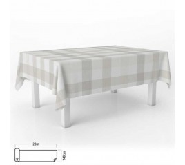 Mantel Hule Rectangular Cuadros Beis. Impermeable Antimanchas PVC 140 cm. x 20 metros. Rollo Recortable. Interior y Exterior