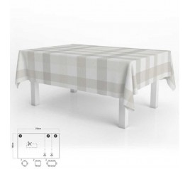 Mantel Hule Rectangular Cuadros Beige Impermeable Antimanchas PVC 140x250 cm.  Recortable Uso Interior y Exterior