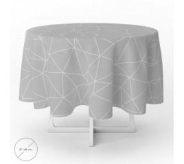 Mantel Hule Geométrico Gris Impermeable Antimanchas PVC Ø 140 cm. Uso Interior y Exterior