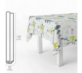 Mantel Hule Rectangular Accesorios Cocina. Impermeable Antimanchas PVC 140 cm x 20 metros. Rollo Recortable. Interior y Exterior
