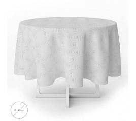 Mantel Hule Muletón Redondo Beige Impermeable Antimanchas PVC Ø 140 cm. Uso Interior y Exterior