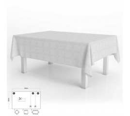 Mantel Hule Muletón Rectangular Beige Impermeable Antimanchas PVC 140x250 cm.  Recortable Uso Interior y Exterior