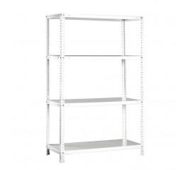 Modulo Estantería Con 4 estantes 80x30x150 cm. con 4 Bateas. Pintado blanco.