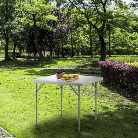 Mesa Plegable Cuadrada HDPE Multifuncional, Portátil, Resistente,Multiusos 86x86x74 cm. Color Blanco