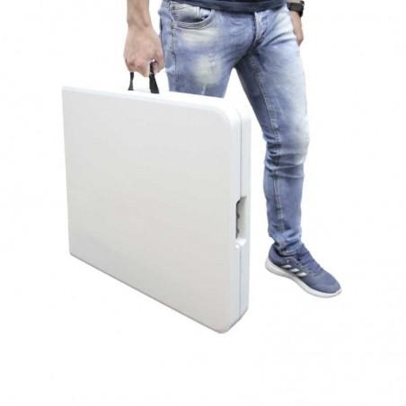 Mesa Plegable Rectangular HDPE Multifuncional, Portátil, Resistente,Multiusos 122x61x74 cm. Color Blanco
