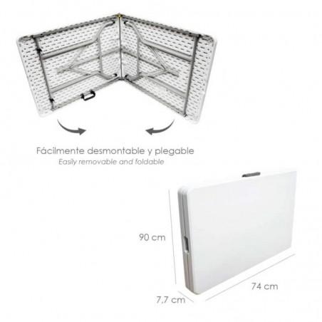 Mesa Plegable Rectangular HDPE Multifuncional, Portátil, Resistente,Multiusos 180x74x74 cm. Color Blanco