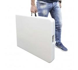 Mesa Plegable Rectangular HDPE Multifuncional, Pórtatil, Resistente,Multiusos 244x76x74 cm. Color Blanco
